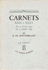 Carnets XXIX à XXXV
