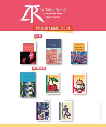 Programme des parutions des Editions La Table ronde - Août - Septembre 2018