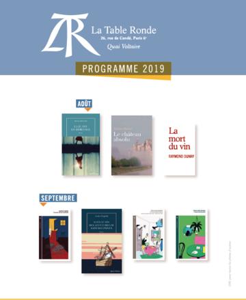 Programme des parutions août-septembre 2019