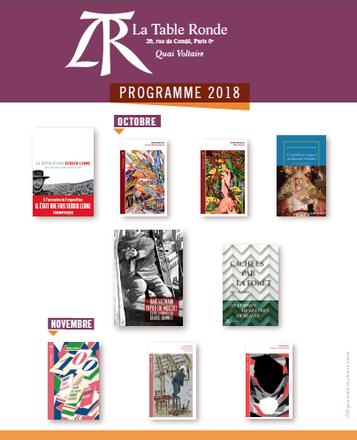Programme des parutions des Editions La Table ronde - Octobre - Novembre 2018